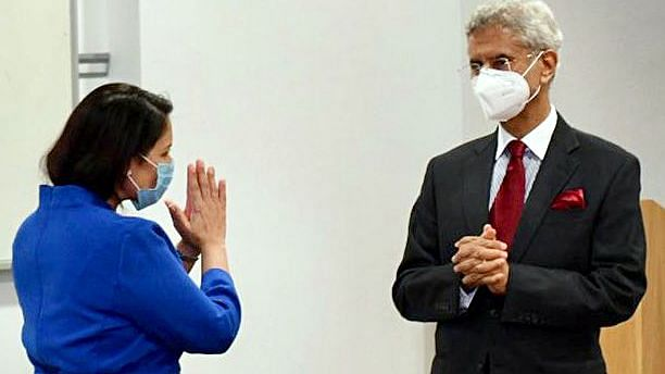 UK home secretary Priti Patel and India's foreign minister Dr. S Jaishankar iron out the Migration and Mobility Partnership (MMP) agreement. It will allow young Indian professionals to the UK every year for employment purposes, for a period of two years, in return for India agreeing to take back illegal immigrants. Courtesy: ANI  The real work on India-UK relations starts now indiaglobalbusiness 2021 05 4066f079 6f94 4484 ad43 c9583768c560 20210504147L
